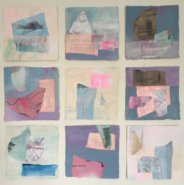 Coral Island - series of 9. Each 20x20cm mixed media pieces on khadi cotton paper