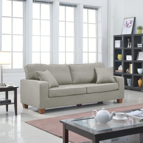 Classic Traditional Large Linen Fabric Sofa With 2 Matching Accent Pillows,  Little Grey 82 Inch Large Size Sofa Features Hardwood Frame And Wooden Legs  With ...