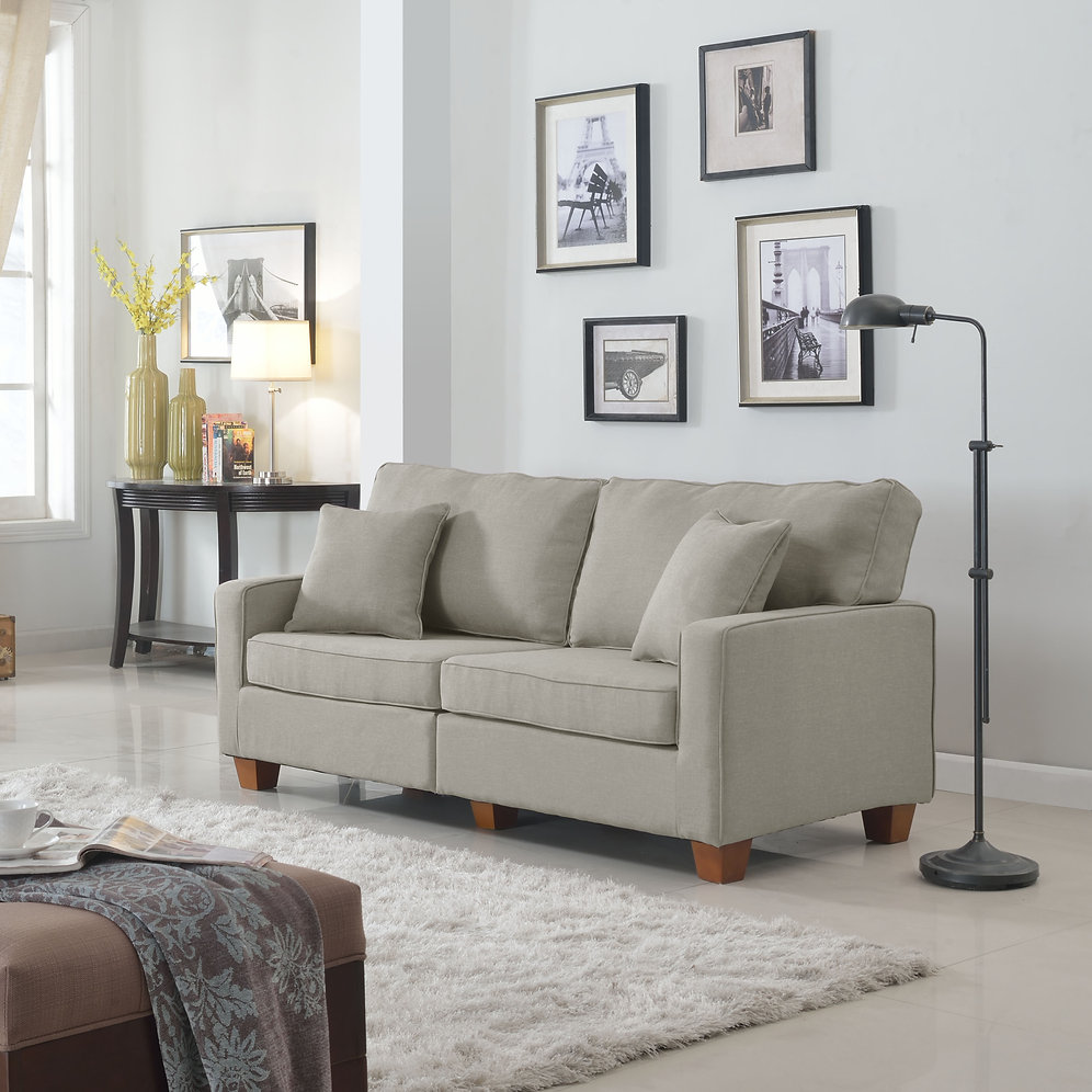 Linen Fabric Loveseat   sofamind
