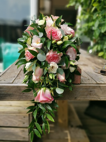 Pink bridal bride shower waterfall wedding bouquet flowers