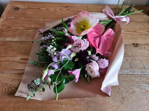 Pink flower wrap gift bouquet