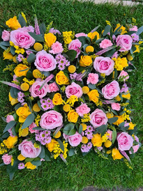 Pink and Yellow sympathy cushion funeral flowers Rose and Carnation