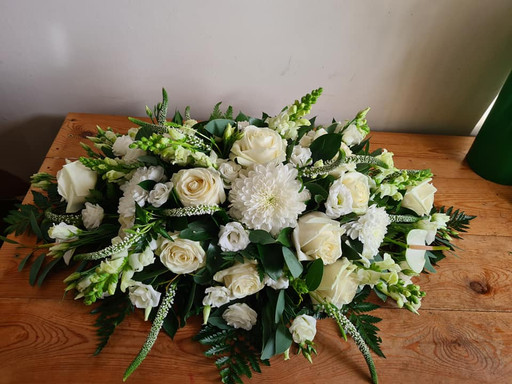White and Green Coffin spray funeral tribute flowers