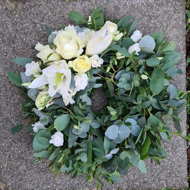 Eucalyptus White Lily Rose Lisianthus sympathy funeral tribute wreath