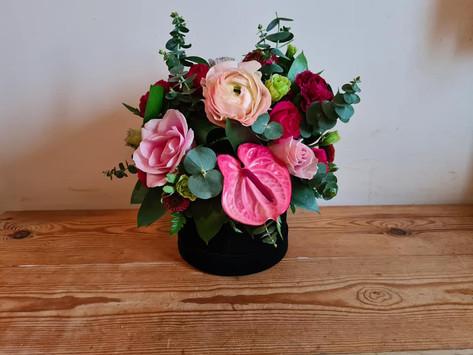 Pink and Black velvet hatbox flower arrangement