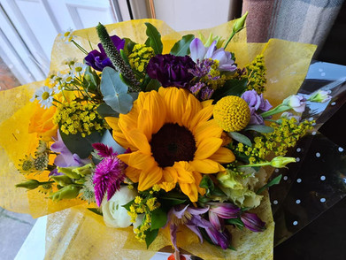 Yellow Sunflower and Purple Handtied flower gift bouquet