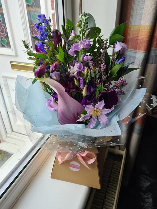 Purple Lilac handtied flower gift bouquet