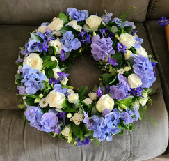 Blue and White Hydrangea Rose sympathy funeral tribute wreath