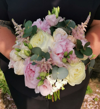 Pink and white Peony Rose bridal handtied bouquet