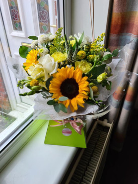Yellow and White Sunflower handtied flower gift bouquet