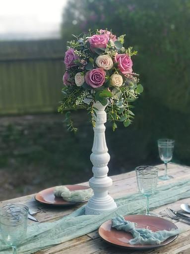 Lilac Purple wedding flower table centrepiece