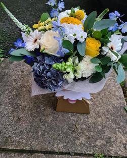 Blue, yellow & white Hyndrangea Rose flower gift handtied bouquet