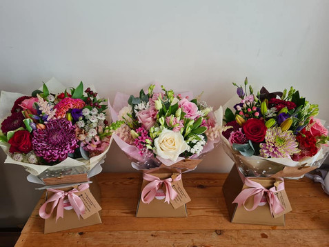 Pink handtied gift flower bouquets