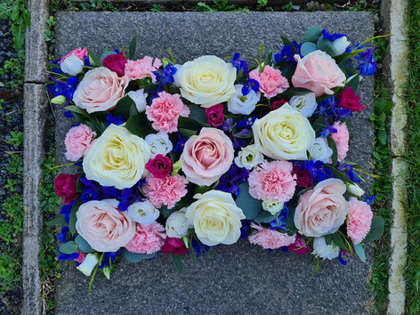 Pink, Blue and White sympathy funeral tribute cushion flowers