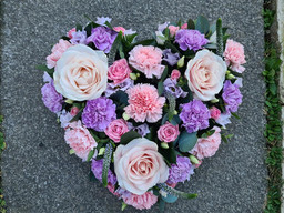 Pink and Lilac heart sympathy flowers