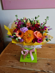 Orange Lilac and Pink handtied gift bouquet of flowers