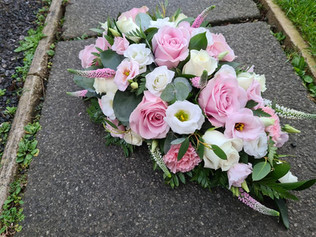 Pink and White single ended spray teardrop funeral sympathy tribute flowers