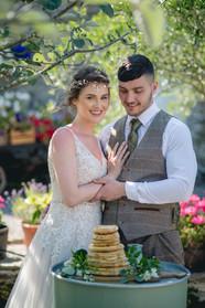 Wedding pancake tower flowers
