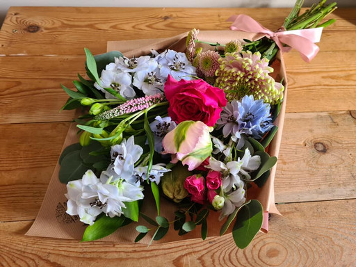 Blue and Pink flower wrap gift bouquet