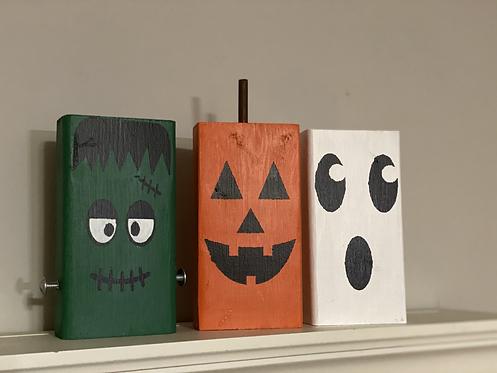 Wood block Halloween decor