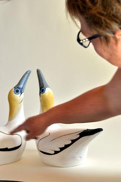 Eve Howard Ceramics, Ceramic bird, Australasian Gannet sculpture.