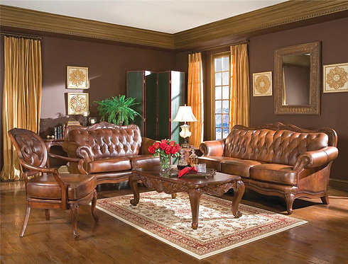 500681 2pc Leather Sofa & Loveseat