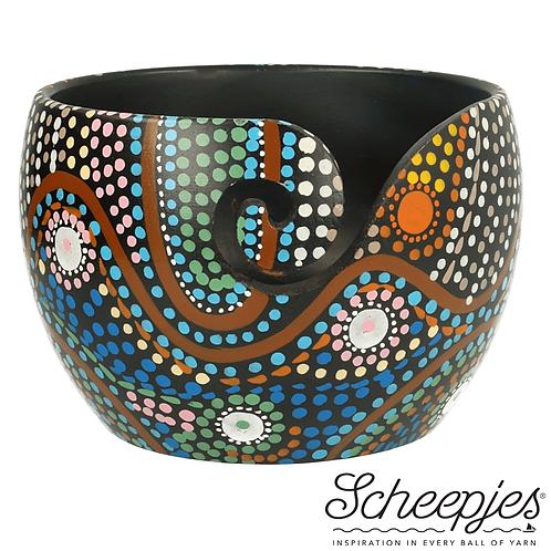 Scheepjes Yarn Bowl Mango Hout Dot Painting 11 x 12,5 Cm