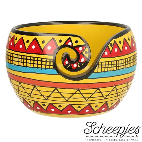 Scheepjes Yarn Bowl Mango Hout Yellow Stripe 11 x 12,5 Cm
