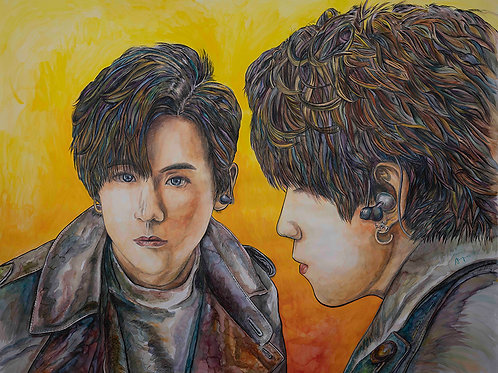 「姜.真我」複製油畫40W x 30Hcm ( 鋁金屬畫框-黑色)