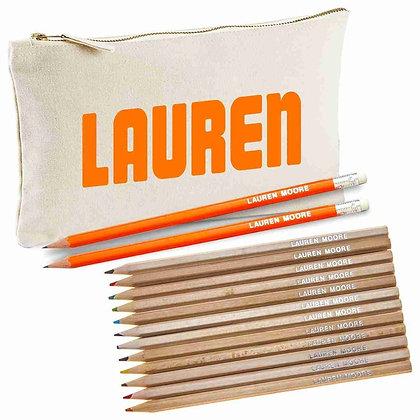 קלמר מותאם אישית עם עפרונות וערכת צבעי קרש