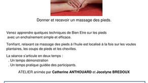 """Atelier """"Massage de Pieds"""" se déroulera le Dimanche 8 Novembre   !!!! Reporté à une Autre DATE !!!!"""