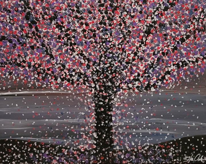 Blossoms at Night No. 1 16x20 Wood Backe