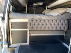Living area of a ford e350 van conversio