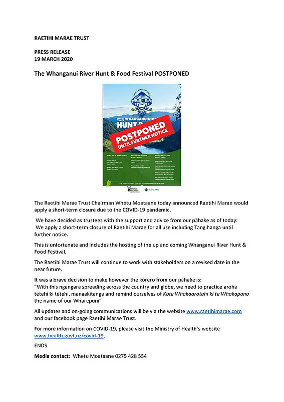 Raetihi Marae Trust Hunt & Food Festival
