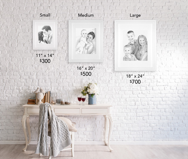 Small, Medium, and Large Portrait Sizes and Prices