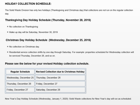 Holiday schedule for waste collection