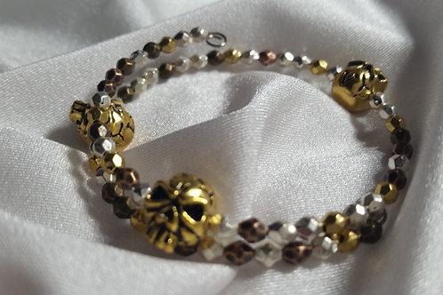 Antique Gold Skull Unisex Adjustable Memory Wire Bracelet