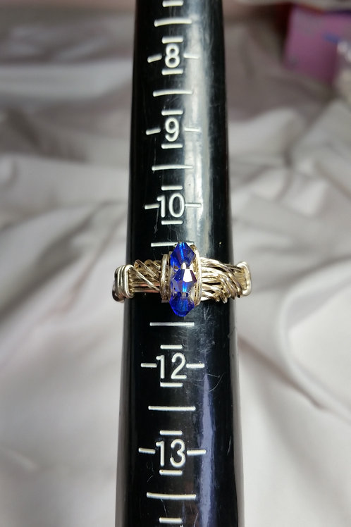 3 Stone sapphire Swarovski wire wrapped ring size 11