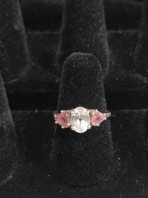 White Topaz and Pink Tourmaline Size 7 Ring