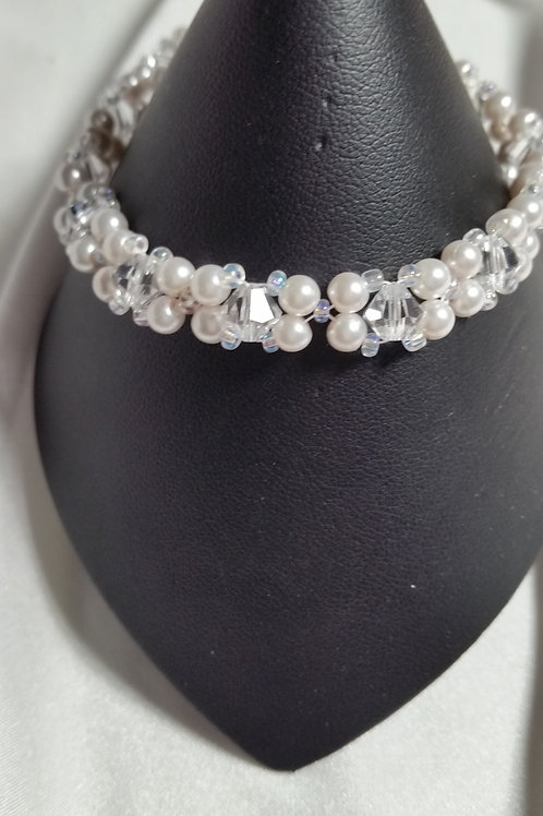 Crystal and Pearl Swarovski beaded bracelets. 8 inch in size