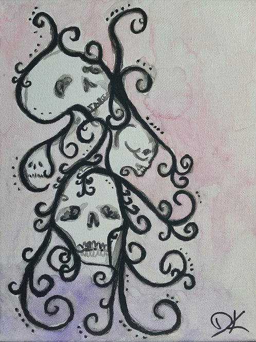 Skull Cascade Watercolor Painting