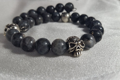 Antique Silver Skull Unisex Adjustable Memory Wire Bracelet