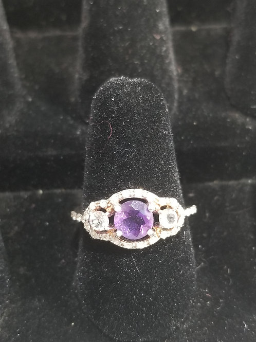 Three Stone Amethyst and White Topaz