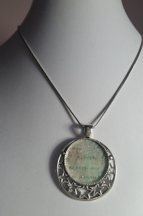 Silver Tray Pendant and Necklace