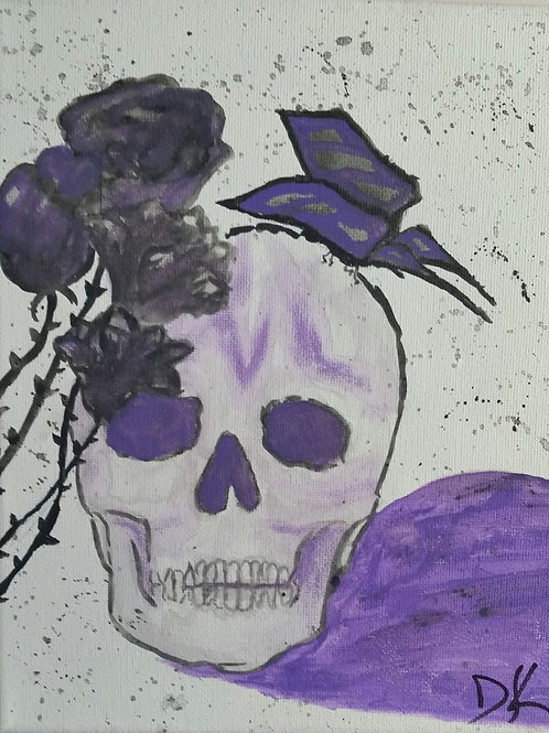 Butterfly Skull Painting