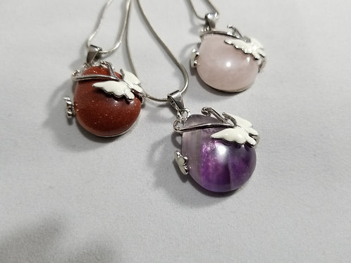 Butterfly Accented Gemstone Necklace