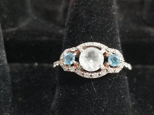 Size 8.5. White Topaz Ring with Topaz Accent Stones