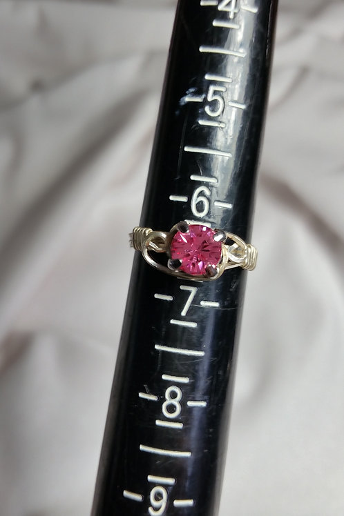Pink Swarovski wire wrapped ring size 6 1/2