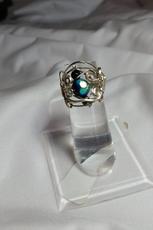 AB black bead wire wrapped ring size 6 1/2