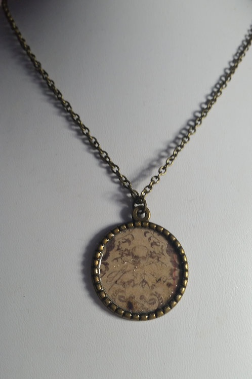 Brass Tray Pendant and Necklace